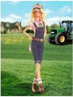 Barbie on a farm with a tractor. Image taken from http://www.amazon.com/gp/product/B000TNRVN2?ie=UTF8&tag=littik-20&linkCode=as2&camp=1789&creative=390957&creativeASIN=B000TNRVN2