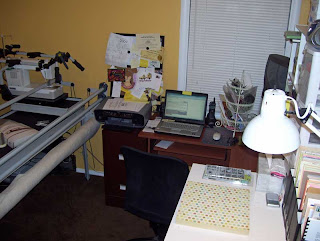 Here a glimpse of the Yellow Scrapbooking/Quilt Frame Room in re-organization progress.