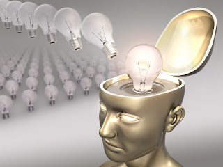 human head with lightbulb on top