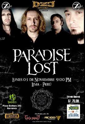 Paradise Lost en Lima el 3 de Noviembre