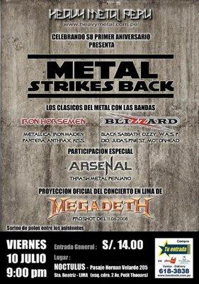 METAL STRIKES BACK - 1er ANIVERSARIO DE LA PAGINA HEAVY METAL PERÚ