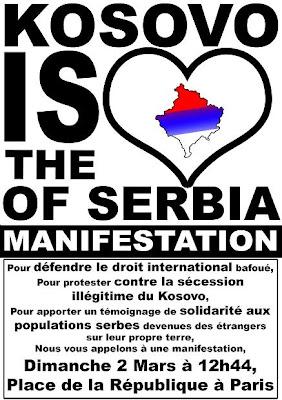 affiche de la manif Kosovo du 2 mars