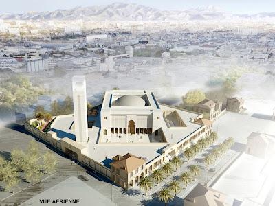 vue d'oiseau de la mosquée de marseille