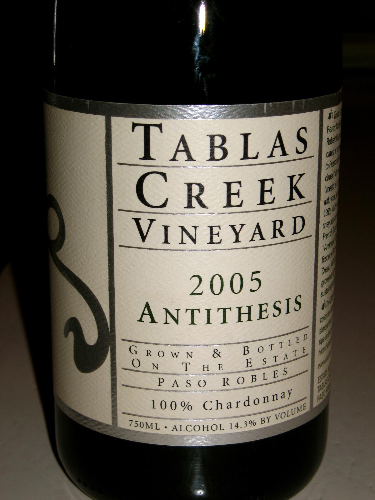 tablas creek antithesis Price history & market data for 2010 tablas creek vineyards antithesis chardonnay, paso robles, usa.