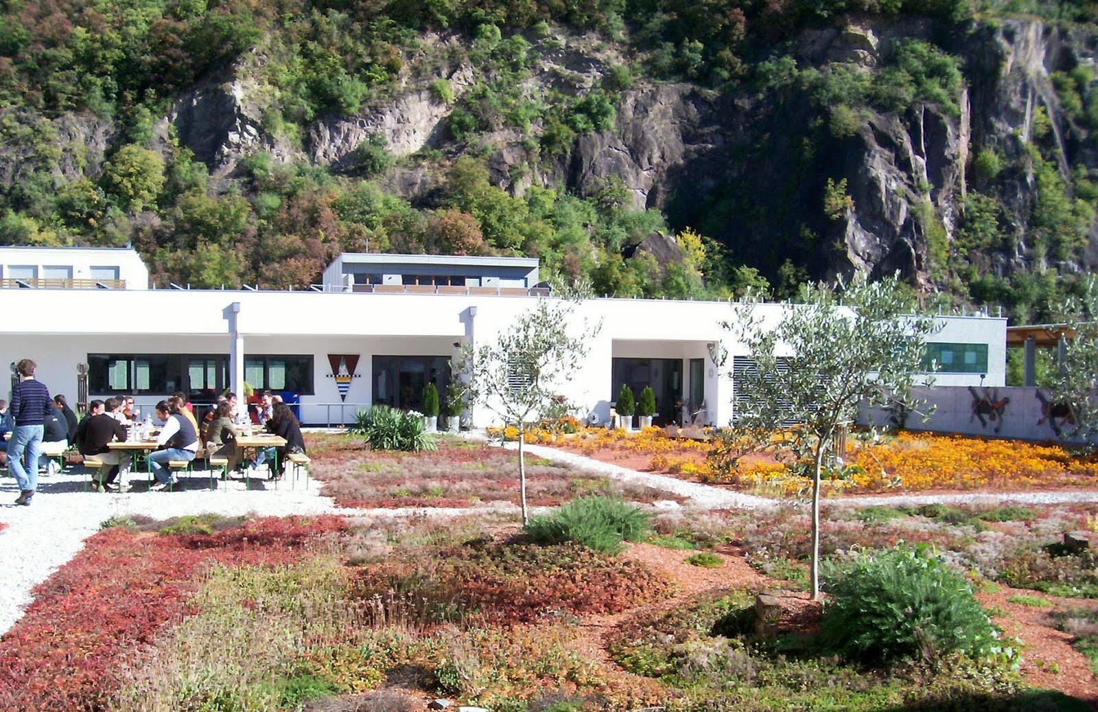 verde siamo sul tetto della sede della naturaliabau a merano