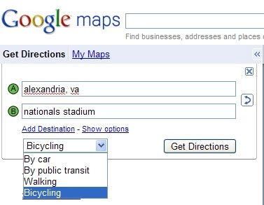 to find biking directions select bicycling from the drop down menu when you do a directions search