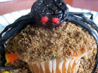 Coco Puff Graveyard Cupcakes with Spiders