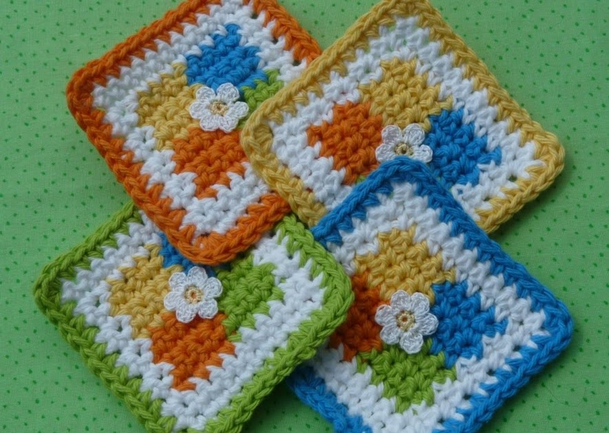 Whiskers & Wool: Four Square Coaster Crochet Pattern - FREE