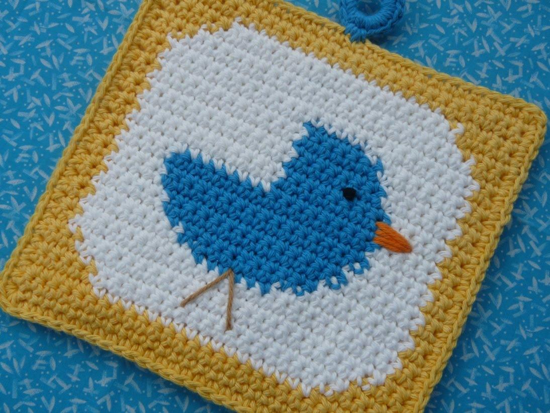 Whiskers & Wool: Bluebird Potholder - FREE PATTERN