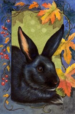 Fall Themed Bunny Art