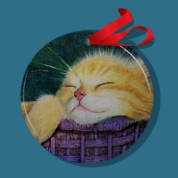 Orange Tabby Cat Kitten Ornament