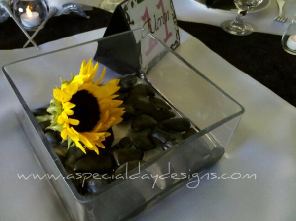 black and yellow centerpieces for wedding