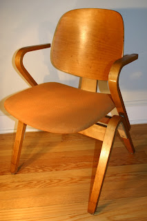Vintage Arm Chair In Birch Plywood Designed By Joe Atkinson For Thonet,  Circa 1950. With Original Orange Upholstery. 21 W X 19 D X 31 H Inches.