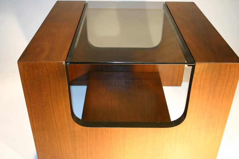 Cercis Walnut Smoked Glass Side Table By Lane