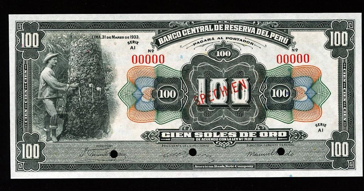 Peru 100 Soles De Oro Specimen Banknote World Banknotes
