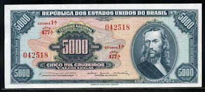 Brazilian cruzeiro Tiradentes Brazil paper money 5000 Brazilian Cruzeiros banknote