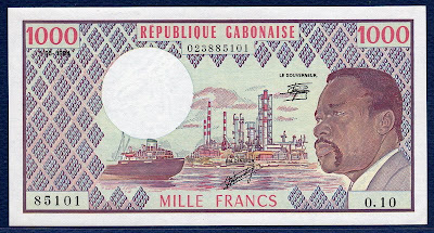 paper money Gabon 1000 Francs