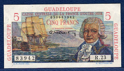 Guadeloupe currency banknotes values 5 Francs Bougainville