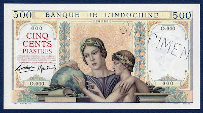 French IndoChina currency values 500 Piastres Specimen banknote