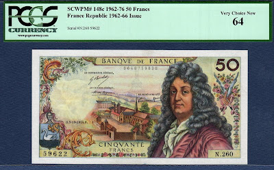 world banknotes and Currency France currency banknotes values 50 Fifty French Francs from 1974 Jean Racine