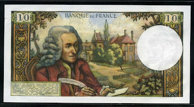 France 10 French Francs Voltaire world banknotes
