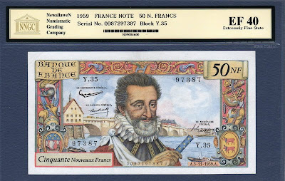 France currency banknotes values 50 French New Francs from 1959 HENRI IV