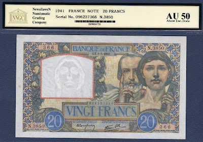 France currency banknotes values 20 French Francs from 1941