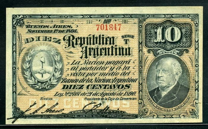 Argentina 10 Centavos Banknote 1891 World Banknotes