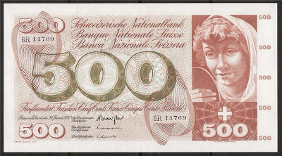 Bank of Switzerland 500 Swiss Francs banknote paper money Currency Image Gallery