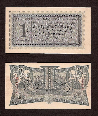 Paper Money Lithuania Litas 1922 specimen banknote