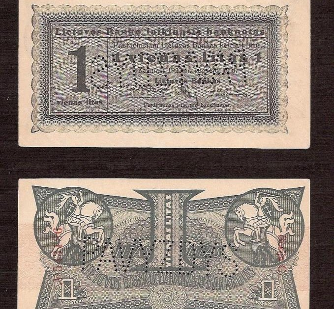Lithuania Paper Money 1 Litas Banknote Of 1922 World