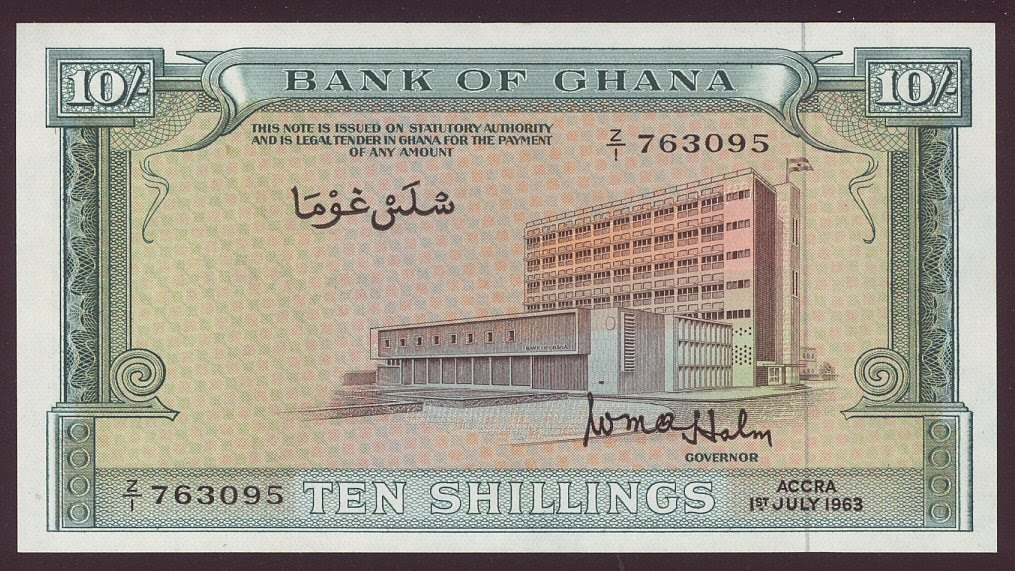 Bank Of Ghana Paper Money 10 Shillings 1963 Issue