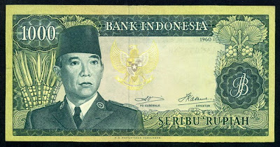 Paper Money currency Indonesia 1000 Rupiah Sukarno Suharto