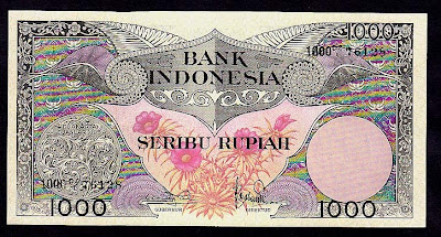 Paper Money currency Indonesia 1000 Rupiah bank note