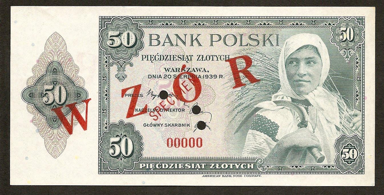 Poland Paper Money 50 Zlotych Note 1939 Wzor World