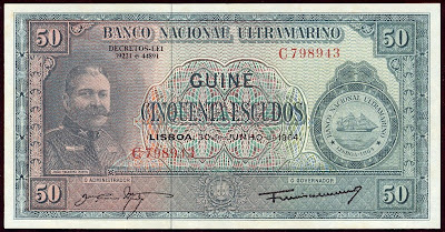 Banco National Ultramarino Portuguese Guinea banknotes paper money 50 Escudos