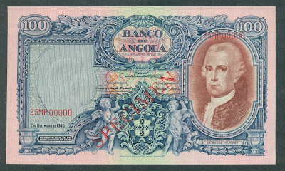Portuguese Angola banknotes 100 Angolares banknote notes bills