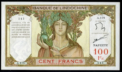 French Paper Money Tahiti 100 Francs banknote