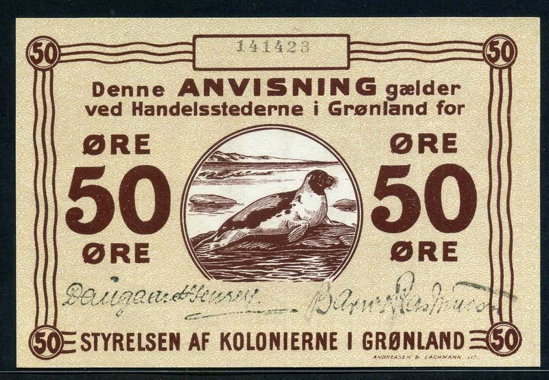 Greenland Paper Money 50 Ore Banknote Of 1913 Sea Lion On