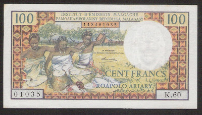 Madagascar 100 Francs Paper Money Banknote
