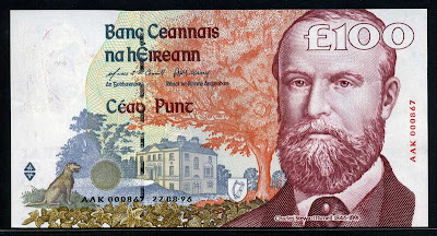Ireland currency 100 Pounds banknotes collection
