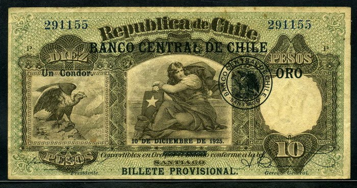 Chile Antique Currency 10 Peso 1925 Issue World Banknotes