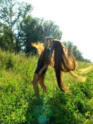Rapunzel girl very long hair Beautiful Sun Shine Girl