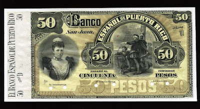 Banknotes of Puerto Rico 50 Peso Money Currency dollar Banknote bill