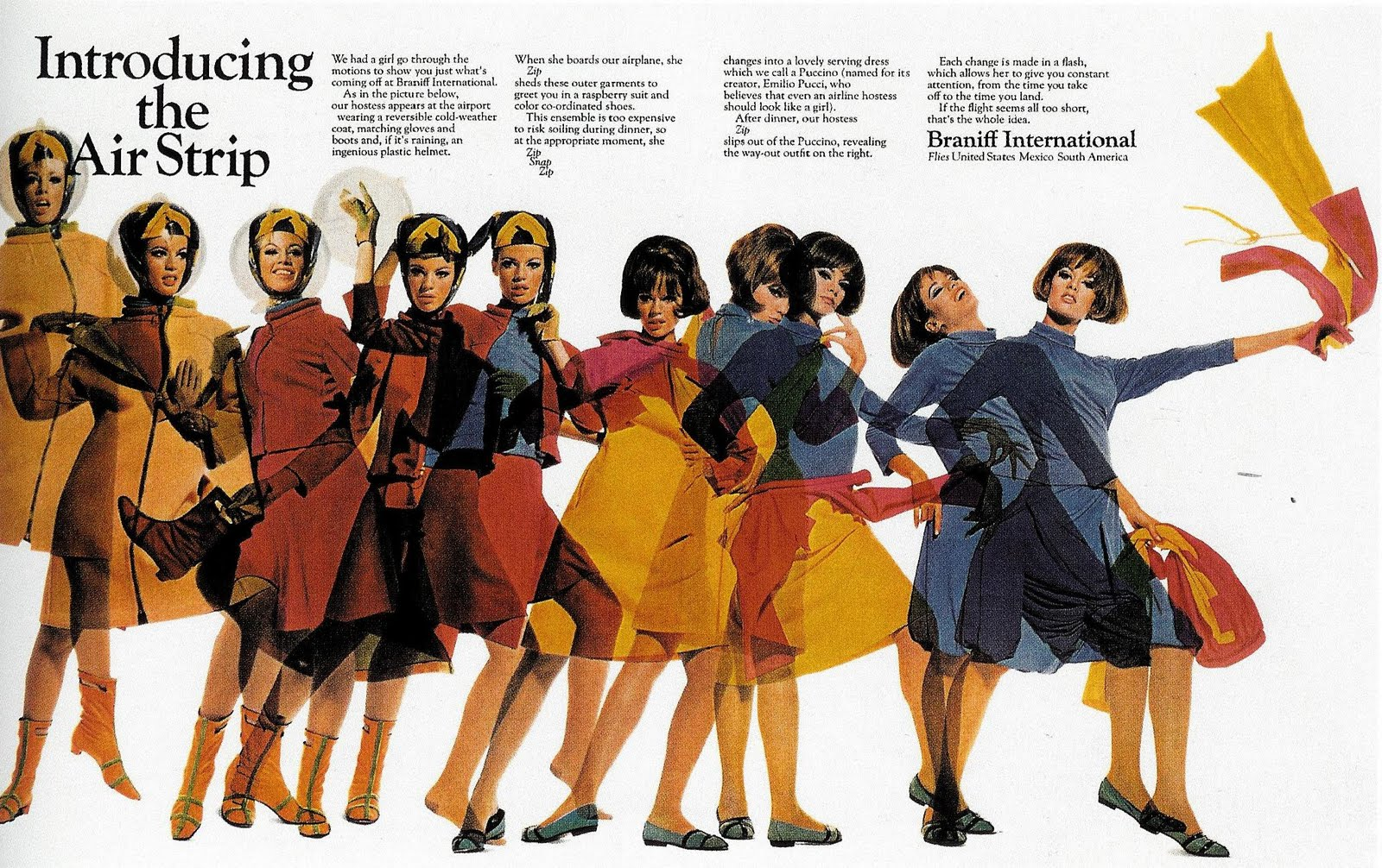 Advertisement showing the various outfits a Braniff International air hostess would wear