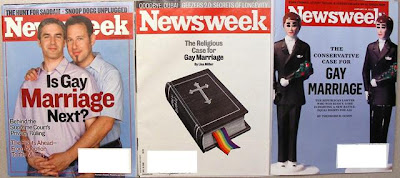 gay marriage headlines on covers of 'Newsweek' - 'Is Gay Marriage Next?' July 7, 2003 - 'The Religious Case for Gay Marriage' Dec. 15, 2008 - and 'The Conservative Case for Gay Marriage' Jan. 18, 2010