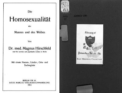 Princeton University Library bookplate and title page of 1914 book by Magnus Hirschfeld, Die Homosexualität des Mannes und des Weibes' scanned by Google Books from library copy owned by Princeton University