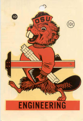 Oregon State University Engineering Benny Beaver decal (10 cents) was sold circa 1975 to apply to a car window shows Benny carrying a slide rule and T-square, which are both obsolete engineering tools.