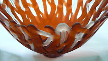 Coral Orange/Clear Basket Bowl