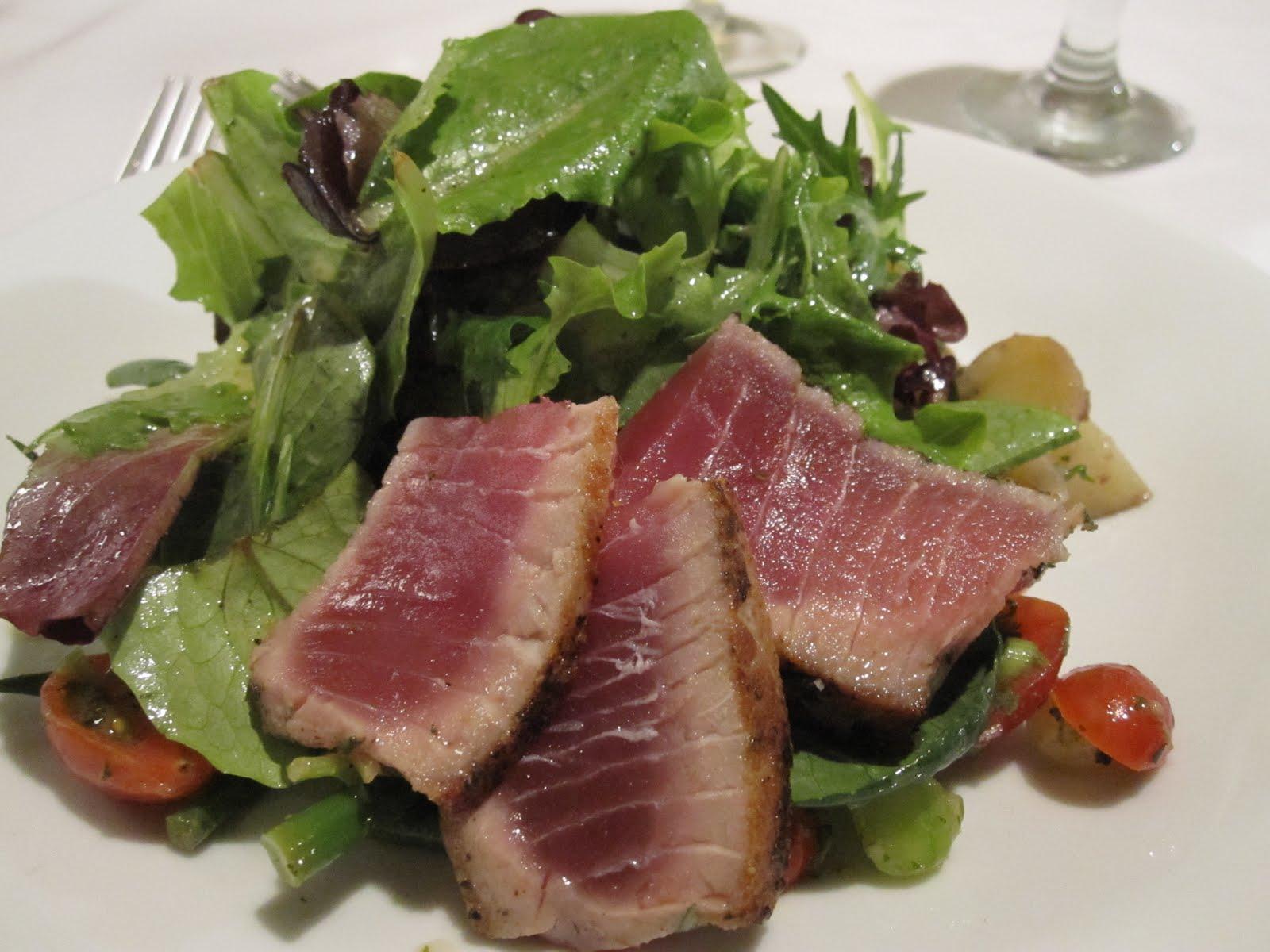 Winter Nicoise salad with sashimi grade ahi tuna, fingerling potatoes ...